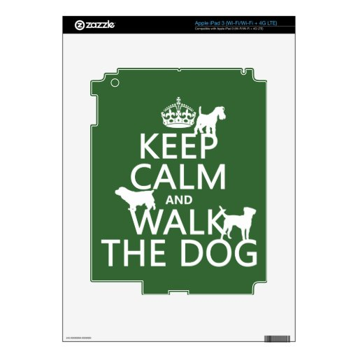 Keep Calm and Walk The Dog - all colors Decal For iPad 3