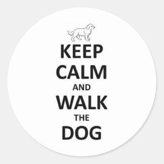 Keep Calm and walk the dog Classic Round Sticker