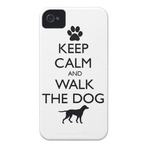 Keep Calm and walk the dog dogs pet pets cute walk Case-Mate iPhone 4 Case
