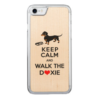 Keep Calm and Walk the Doxie!  Cute Dachshund Carved iPhone 7 Case