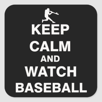 Keep Calm and Watch Baseball Square Sticker