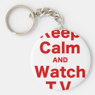 Keep Calm and Watch TV Keychain