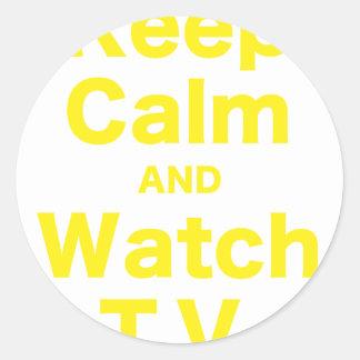 Keep Calm and Watch TV Round Sticker