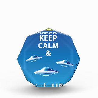 Keep Calm and Watch UFOs vector Acrylic Award