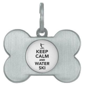 Keep calm and Water ski Pet Tag
