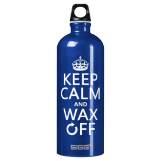 Keep Calm and Wax Off (any background color) Aluminum Water Bottle