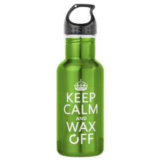 Keep Calm and Wax Off (any background color) Water Bottle
