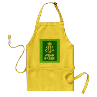KEEP CALM AND WEAR GREEN for St Pats Day Adult Apron