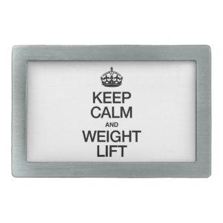 KEEP CALM AND WEIGHT LIFT RECTANGULAR BELT BUCKLES