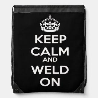Keep Calm and Weld On Drawstring Bag