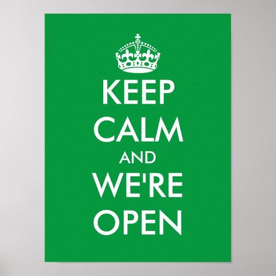 Keep Calm And Were Open Window Door Sign Poster Zazzlecom
