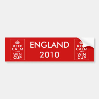 Keep Calm and Win Cup ~ England Footie Bumper Sticker