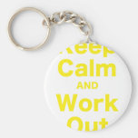 Keep Calm and Work Out Basic Round Button Keychain