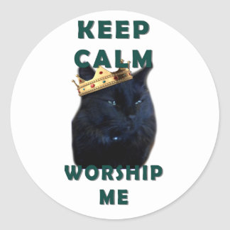 Keep Calm and Worship Me Classic Round Sticker