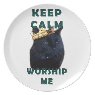 Keep Calm and Worship Me Melamine Plate