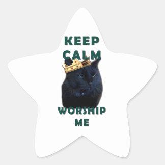 Keep Calm and Worship Me Star Sticker