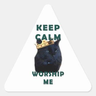 Keep Calm and Worship Me Triangle Sticker