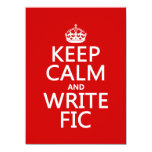 Keep Calm and Write Fic - all colors 5.5x7.5 Paper Invitation Card