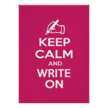 Keep Calm and Write On meme Poster