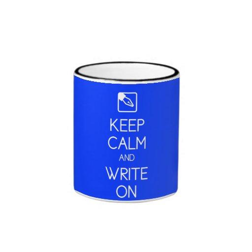 Keep Calm and Write On Mug Ringer Mug