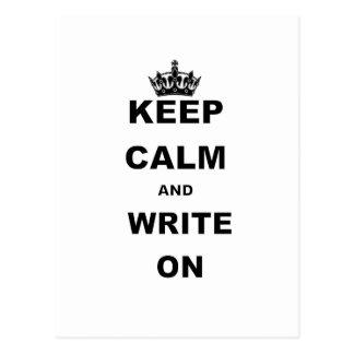 KEEP CALM AND WRITE ON POSTCARD