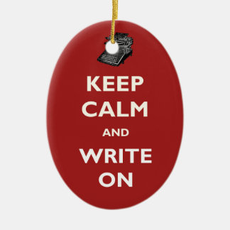 Keep Calm and Write On Vintage Typewriter Ornament