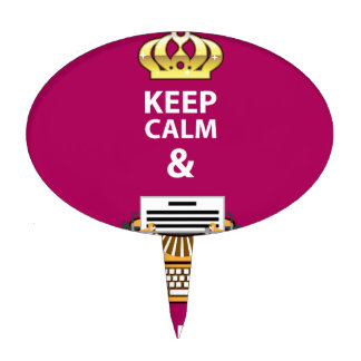 Keep Calm and Write Your Script vector Cake Topper