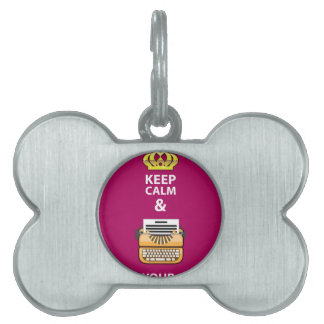 Keep Calm and Write Your Script vector Pet ID Tag