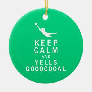 Keep Calm and YELLS GOOOOOOAL Double-Sided Ceramic Round Christmas Ornament