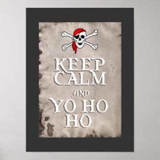 KEEP CALM and YO HO HO in grey Print