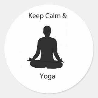 keep calm and yoga classic round sticker