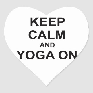 Keep Calm and Yoga On black blue gray Heart Sticker