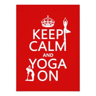 "Keep Calm and Yoga On (customize colors) 5.5"" X 7.5"" Invitation Card"