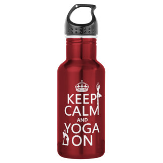 Keep Calm and Yoga On (customize colors) 18oz Water Bottle