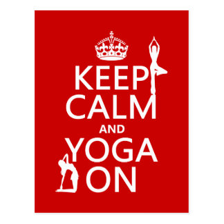 Keep Calm and Yoga On (customize colors) Postcard