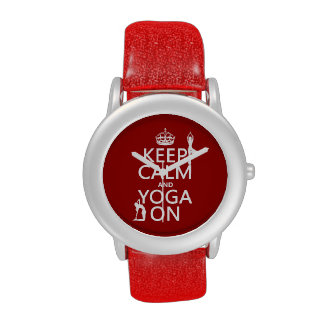Keep Calm and Yoga On (customize colors) Wrist Watch