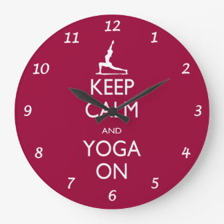 Keep Calm and Yoga On Large Clock