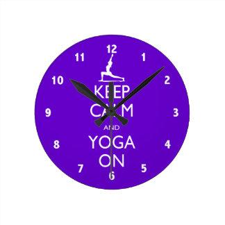 Keep Calm and Yoga On Round Clock