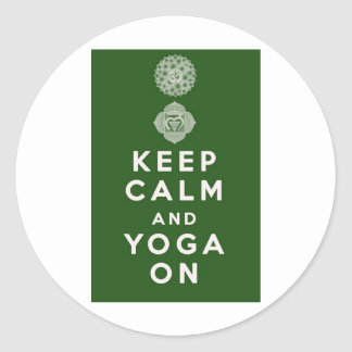 Keep Calm and Yoga On Classic Round Sticker