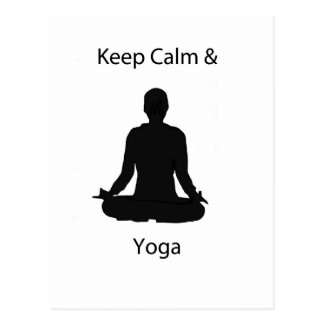 keep calm and yoga postcard
