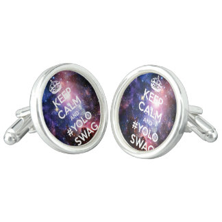 Keep calm and yoloswag cufflinks