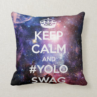 Keep calm and #yoloswag throw pillow