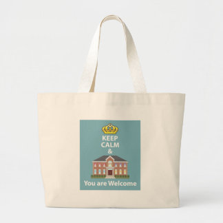 Keep Calm and You are Welcome vector Large Tote Bag