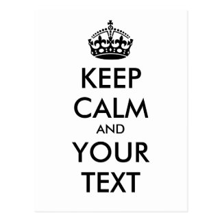 KEEP CALM and YOUR TEXT - black Postcard