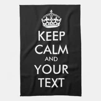 KEEP CALM and YOUR TEXT - Change BLACK background Hand Towels