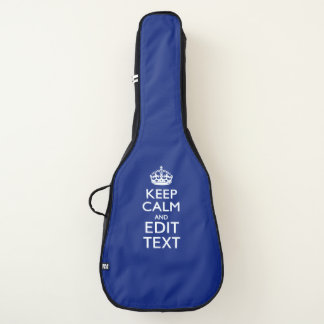 Keep Calm And Your Text on Accent Navy Blue Guitar Case
