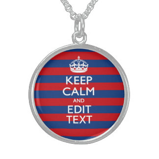 KEEP CALM AND Your Text on Blue Stripes Round Pendant Necklace