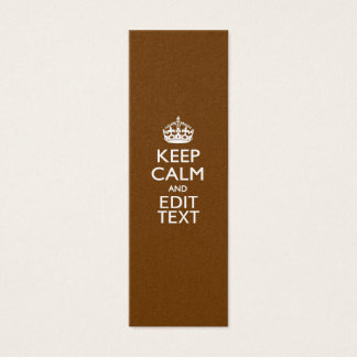 Keep Calm And Your Text on Brown Mini Business Card