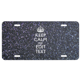 Keep Calm and Your Text on Midnight Decor License Plate