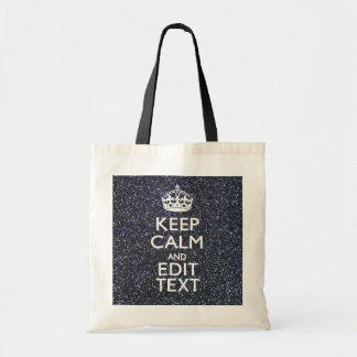 Keep Calm and Your Text on Midnight Glitter Print Tote Bags